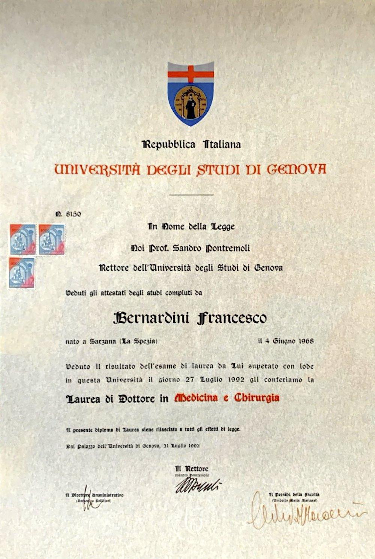 DIPLOMA DI LAUREA IN MEDICINA E CHIRURGIA 1992