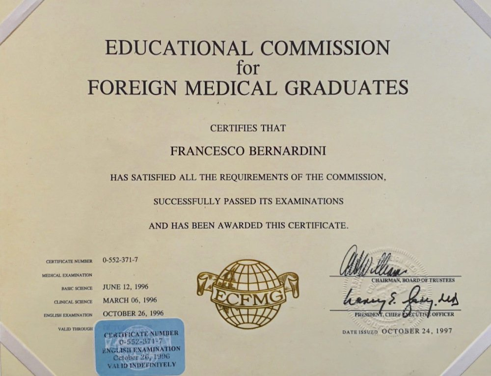 EDUCATIONAL COMMISSION for MEDICAL GRADUATES 1996